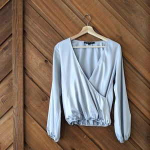 FOR LOVE AND LEMONS Silver Satin Surplice Top